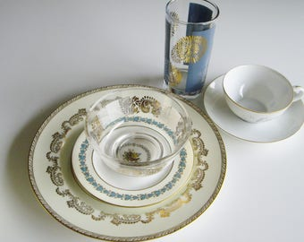 Vintage, Mix and Match Dishes, Mismatched, Gold and Silver, Turquoise, Mid Century, Libbey, Kaysons, Wedgwood Appledore, Meito Senora