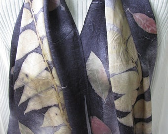 Hand dyed silk scarf with walnut leaves - ecoprint scarf womens scarves mens scarves unique gift for her nature gift leaves gray silk scarf