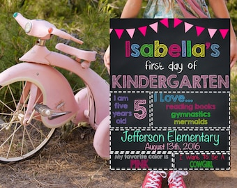 Kindergarten School Signs, First Day Of School, Printable School Signs, Personalized School Signs, 1st Day Of Kindergarten