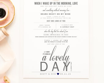 """Gray & Navy, Bill Withers """"Lovely Day"""" - Valentine's, Wedding Gift, Paper Anniversary Gift, Song Lyrics, Art Print"""