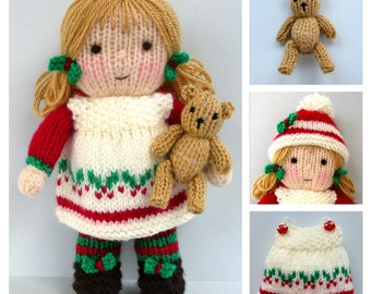 HOLLY BERRY and tiny teddy - knitting pattern - Pdf instant download