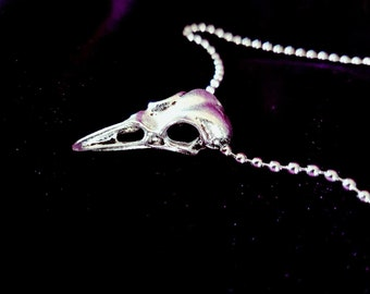 Metal Bird Skull Necklace - gothic goth crow small skull