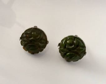 Bakelite Marbled Spinach Carved Earrings