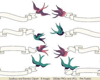 Swallows and Banners Clipart Clip Art, Vintage Bird Banner Clip Art Clipart- Commercial and Personal Use