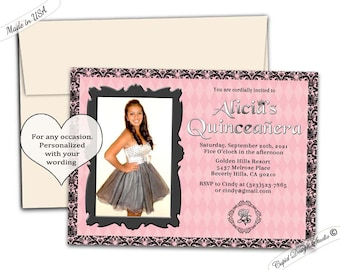Couture quinceañera invitation, couture graduation invitation, couture sweet 16 party invitations, royal sweet sixteen birthday party