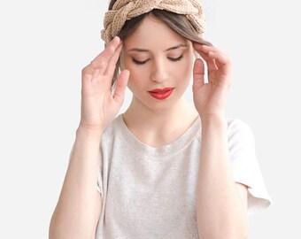Hand Knit Headband, Beige Summer Headbands, Womens Hair Accessory, Braid Spring Headband, Nude Boho Chic Turban