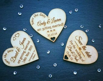 Rustic Save the date magnets engraved wood heart personalised wedding fridge magnets wooden laser engraved
