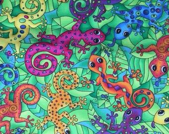 Lizards Bright Colors Moda 1.5 yards