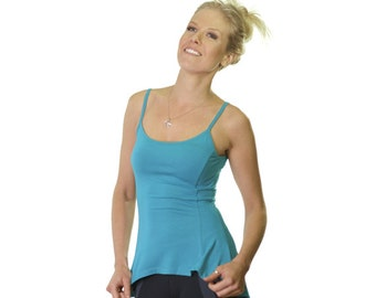 Turquoise flared singlet - spaghetti strap singlet - flared top - long singlet - turquoise top - soft tops - comfortable singlet top