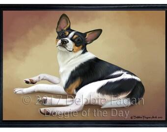 Rat Terrier Dog Framed Canvas Print Wall Art