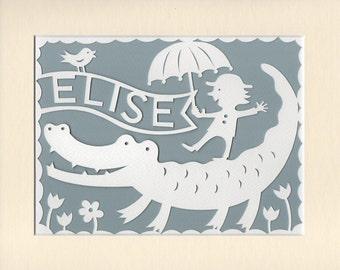 Personalized Baby Gift, Papercut Nursery Decor, Unique Jungle Nursery Art, Baby Naming Gift, Baby Keepsake, Whimsical Baby Gift