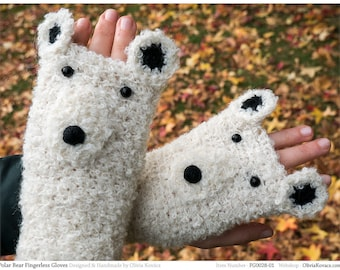 Polar Bear Fingerless Gloves (Boucle) ~ Handmade