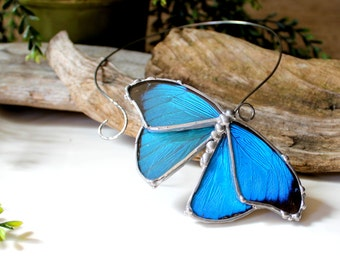 Blue Butterfly Choker, Real Blue Butterfly Necklace, Party Event Necklace, Nature Jewelry, Fairy Bride
