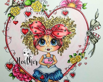 INSTANT DOWNLOAD Digital Digi Stamps Big Eye Big Head Dolls Bestie Scan0142 Your In My Heart Besties TM By Sherri Baldy