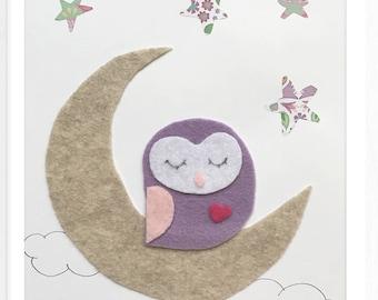 Owl on the moon personalized Nursery Felt Art Birth Frame