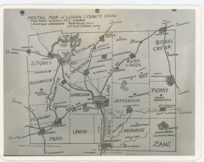 Vintage Snapshot Photo: Postal Map of Logan County, Ohio, c1940s (73558)