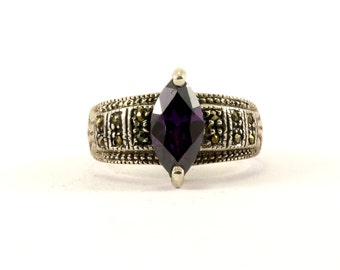Vintage Amethyst Color Crystal Ring 925 Sterling RG 3333
