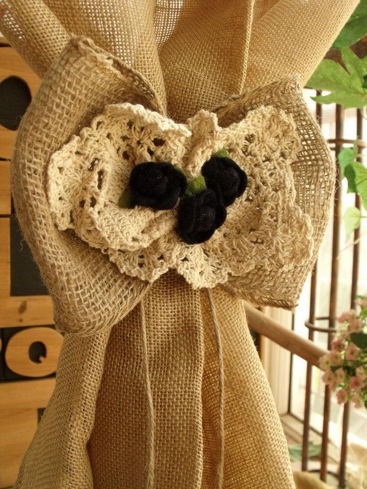 ?zoom & Vintage Crochet Burlap Lace Bow Rustic Wedding Rose Pew Aisle