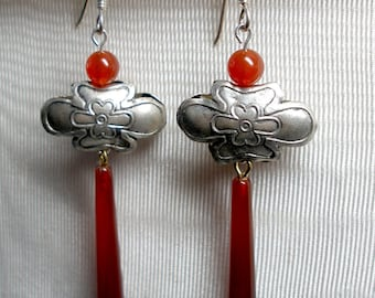 Orange Carnelian Metal Flower Earrings