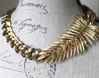 Vintage Assemblage Gold Statement Necklace, Chunky Gold Statement Necklace, Bold Leaf Bridal Necklace