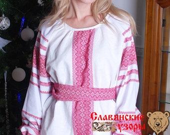"Blouse ""Mirolada"" red, russian blouse, slavic blouse, ethnic blouse, russian cloth, linen blouse, long sleeve blouse, linen woman shirt"