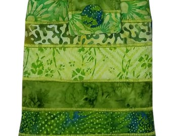 Small Batik Purse in Lime Green with Adjustable Straps