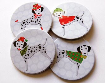 Dalmatian Coasters, Christmas Coasters, Coasters, Hostess Gift, Christmas Dogs, Polka Dot, Dalmatian dog, Red, Green (5222)
