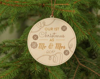 Personalized Christmas ornament, Wooden ornament, Unique Christmas ornaments, Our first Christmas ornament, First Christmas ornament married