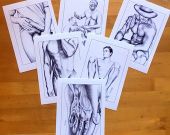 Set of 6 Art Prints Of Helg Lugano Pencil Drawings Male Nude Erotic Man Gay Interest