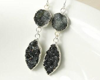 50% OFF SALE - Silver Smokey Grey & Black Geode Leaf Earrings - Black Druzy Earrings