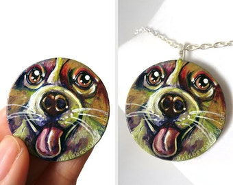 Corgi Dog Portrait, Rainbow Necklace, Hand Painted Wood Jewelry, Circle Pendant, Dog Lover Gift for Her, Colorful Painting, Cute Pet Art
