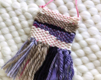 MINI Woven Wall Hanging / Woven Wall Art Tiny / Miniature Weaving / Purple, Pink, Brown, Neutral, Wool Art