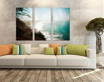 big sur wall art - large canvas wall art - triptych wall art   - large canvas prints - pacific ocean wall art