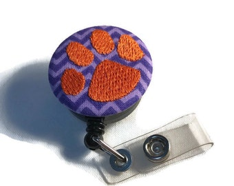 Tiger Paw Clemson Badge Reel Slide on Clip or Swivel Clip - Id Holder- Retractable