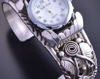 Vintage All Silver Feathers & More Navajo Watch Bracelet by GW 8A08C