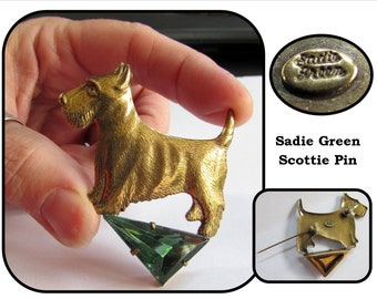 Vintage Gold Tone Scottie Dog Brooch Pin w/ Large Green Glass Triangle Stone by Sadie Green