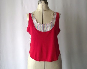 1980s Tank Top Cropped New Wave Red and Rainbow Stripe Medium
