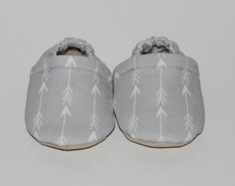 Baby moccasins grey arrows