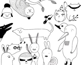 Art print - A4 / A5 line drawing animals animal friends- black and white