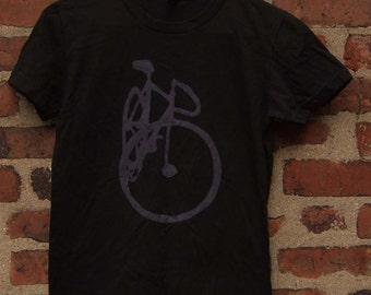Pink on Black Track Bike Shirt - SALE - Bicycle Art Print - Cycling Fixie Track Racing Bicycle