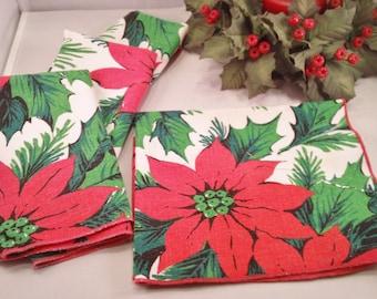Vintage Christmas Poinsettia Flower Napkins Set of 4