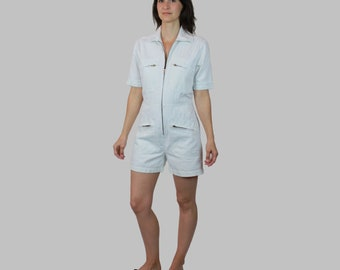 White Romper Women/ White Coveralls/ White Jumpsuit Vintage/ Romper Shorts Small