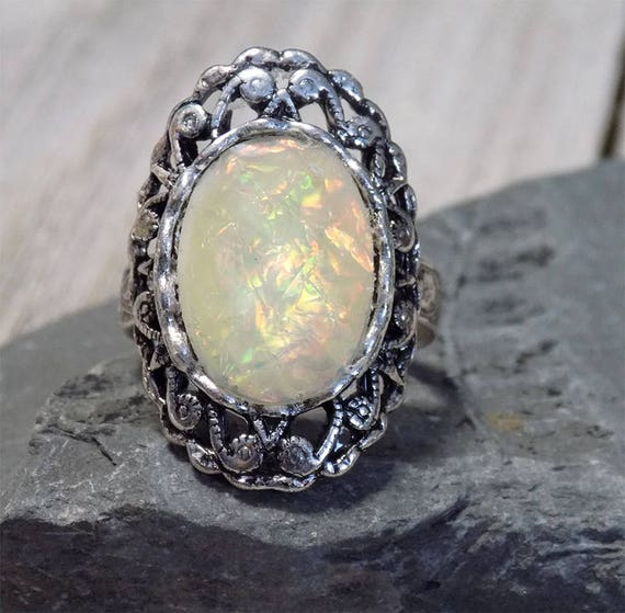 Opal faceted acrylic cabochon Victorian style adjustable ring in antique silver