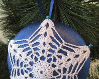 "Royal Blue Satin ""Saturn"" Ornament, White Crochet Motif"