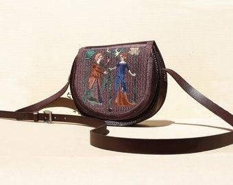 Embroidered Medieval Retro  Boho Hipster  Genuine Leather Handmade Shoulder Bag,  Messenger bag, Crossbody bag