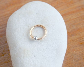 cartilage earring gold filled nose hoop ring 18g handcrafted body jewelry 20g helix piercing