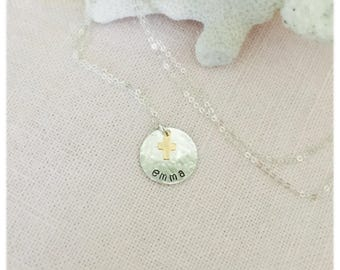 First Communion sterling Silver and Gold Necklace