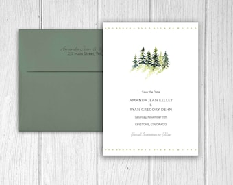 Save The Date - Pine Trees - Pine Trees Theme - Rustic Wedding - Rustic Invitations - Mountain Wedding - Mountain Theme - Personalized
