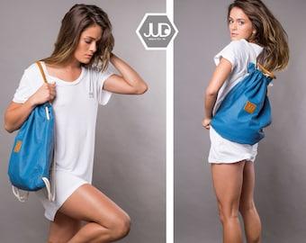 Blue drawstring backpack tote convertible back bag sack bag SALE blue canvas rucksack gym backpack women gift for her convertible travel bag