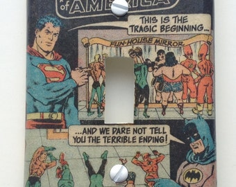 Silver Age Justice League Light Switch Cover Switchplate Decoupage Vintage DC Comic Book